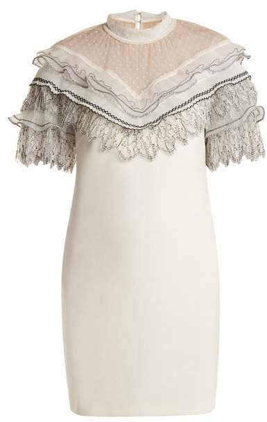 Self-Portrait Self Portrait Lace Trimmed Short Sleeved Cady Dress - Womens - Ivory