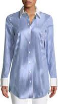 Michael Kors Contrast-Collar Button-Front Striped Long Shirt