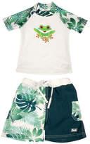 Banz Two-Piece Frog-Print Rash Guard and Swim Shorts Set