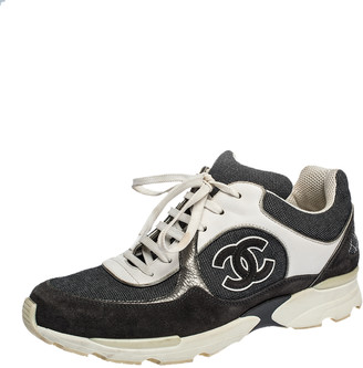 Chanel Monochrome Canvas And Suede CC Logo Lace Up Sneakers Size 40