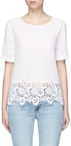 Equipment 'Brynn' lace hem silk T-shirt