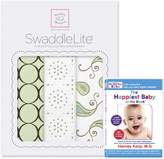 Swaddle Designs SwaddleLite, Set of 3 Marquisette Swaddle Blankets, Premium Cotton Muslin, and The Happiest Baby DVD Bundle, Kiwi Modern Lite
