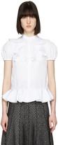 Alexander McQueen White Ruffled Poplin Shirt