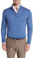 Peter Millar Striped Quarter-Zip Sweater, Charcoal