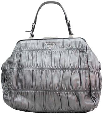 Prada Metallic Silver Leather Ruffle Bag