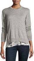 GREY Jason Wu Melange Wool Lace-Trim Sweatshirt, Gray