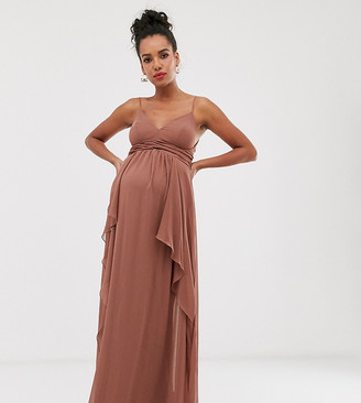 Asos DESIGN Maternity cami maxi dress with soft layered skirt and ruched bodice