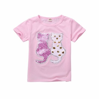 Aeil Kid's T-Shirt Flip Sequins Cotton Short Sleeve Print Tops Suitable for Boys and Girls Ages 3 to 9 Years
