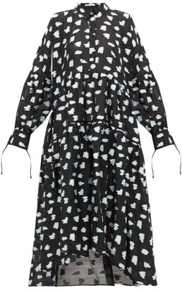 Cecilie Bahnsen Cleo Tiered Floral Fil-coupe Shirt Dress - Black Multi