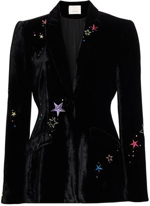 Cinq à Sept Estelle Embellished Velvet Blazer