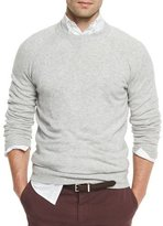 Brunello Cucinelli Athletic Crewneck Sweater, Light Gray