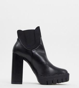 Co Wren wide fit platform heeled boot in black