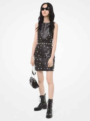 MICHAEL Michael Kors Dome Studded Leather Sheath Dress