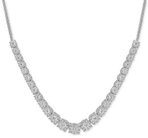 """Macy's Diamond Graduated 18"""" Necklace (5 ct. t.w.) in 14k White Gold"""