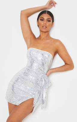 PrettyLittleThing Silver Sequin Bow Detail Bandeau Bodycon Dress