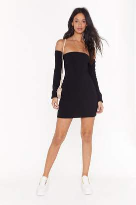 Nasty Gal Womens We're Off-the-Shoulder Ribbed Mini Dress - black - 12