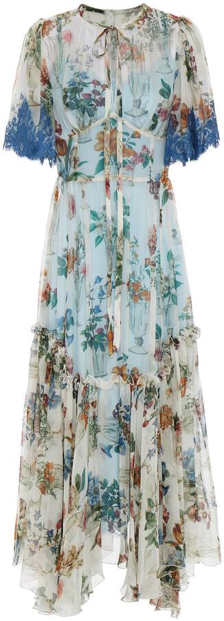 Dolce & Gabbana Gathered Floral-print Silk-blend Chiffon Midi Dress