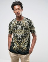 Asos Longline T-shirt With Sublimated Snake All Over Print
