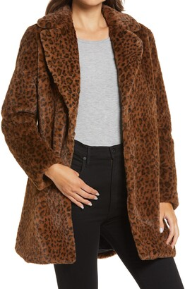 Halogen Leopard Print Faux Fur Coat