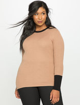 ELOQUII Plus Size Rib Knit Colorblock Sweater