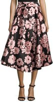 Milly Jackie Floral-Print A-Line Midi Skirt, Light Pink