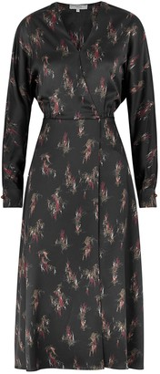 Vince Black printed satin midi dress