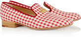 Flora embroidered gingham slippers