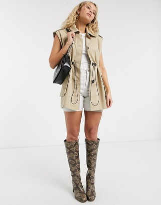 Topshop sleeveless cropped trench coat in sand