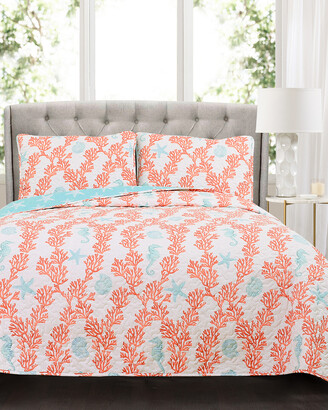 Triangle Home Fashion Dina Coral Quilt Set