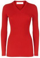 Victoria Beckham Ribbed V-Neck Knit Top