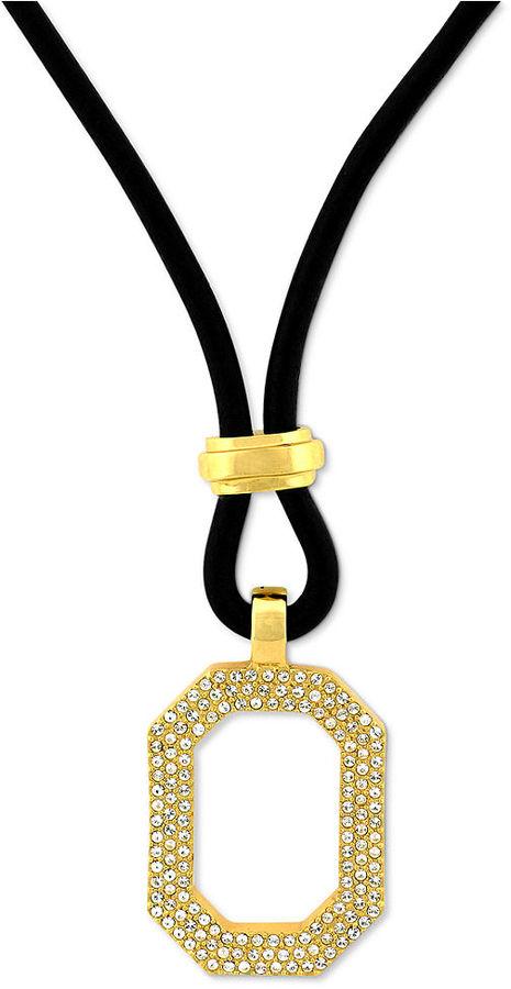 Vince Camuto Necklace, Gold-Tone Pave Octagonal Pendant Necklace