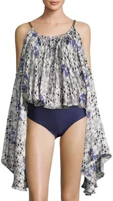 Sinesia Karol Printed Cold-Shoulder Cover-Up