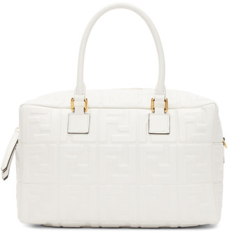 Fendi White Small Forever Boston Bag