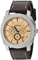 Fossil Men's FS5170 Machine Chronograph Dark Brown Leather Watch