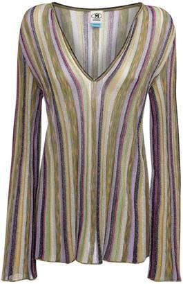 M Missoni Striped Knit Lurex Top W/ Flared Sleeves