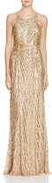 Aidan Mattox Embellished Mesh Gown