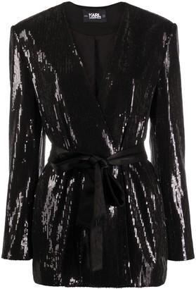 Karl Lagerfeld Paris Belted Sequin-Embellished Jacket