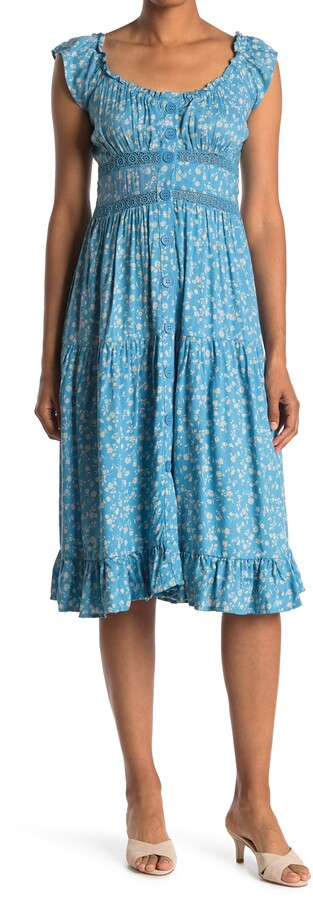 Angie Floral Off-the-Shoulder Button Front Midi Dress