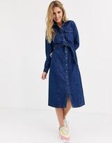 Pieces midi denim shirt dress with belted waist in dark blue