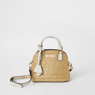 River Island Womens Beige weave mini cross body Handbag
