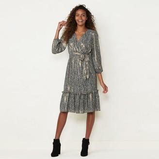 Lauren Conrad Women's Puff Sleeve Midi Wrap Dress