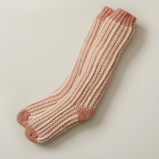 Indigo Vertical Rib Reading Socks Pink