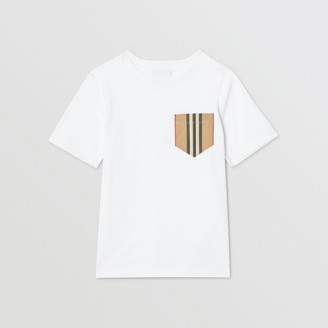 Burberry Childrens Icon Stripe Pocket Cotton T-shirt