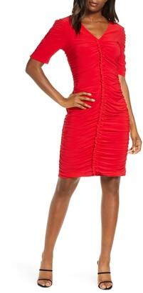 Julia Jordan Ruched V-Neck Dress