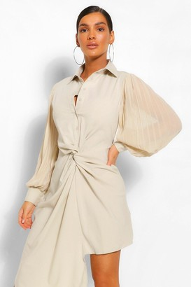 boohoo Pleated Sleeve Draped Shirt Dress