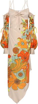 Peter Pilotto Asymmetric Cold-shoulder Printed Satin Midi Dress