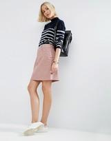 Asos Cord Original High Waist Skirt Washed Pink