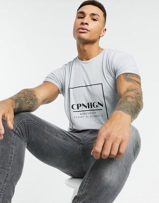 Topman longline t-shirt with Copenhagen print in gray