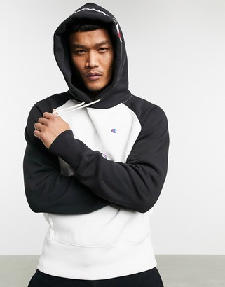 Champion Reverse Weave colourblock hoodie in white/black