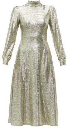 Goat Goldfinch Balloon-sleeve Foiled-jersey Midi Dress - Womens - Silver